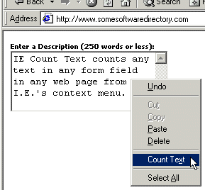 IE Count Text Screenshot