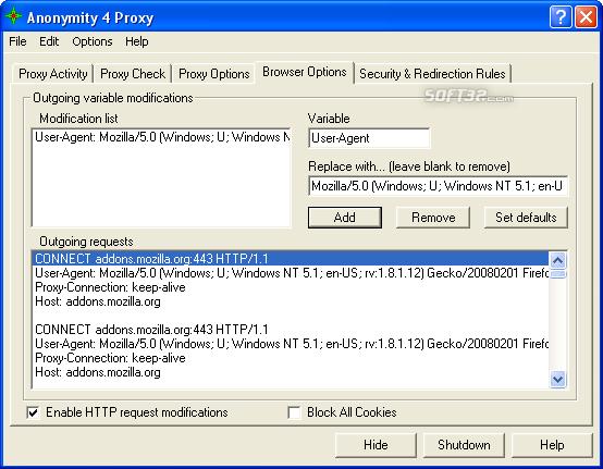 Anonymity 4 Proxy - A4Proxy Screenshot 5