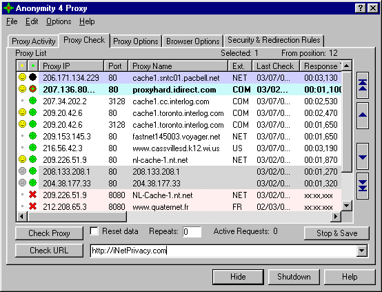 Anonymity 4 Proxy - A4Proxy Screenshot