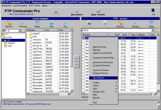 FTP Commander Pro Screenshot