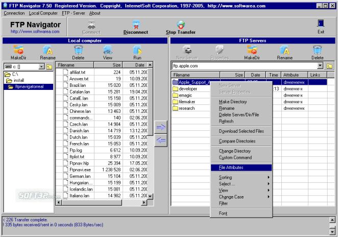 FTP Navigator Screenshot 2