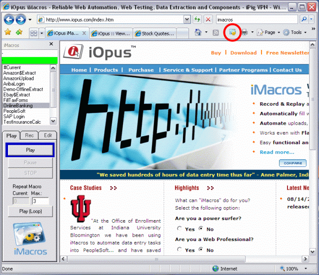 iMacros Web Automation and Web Testing Screenshot