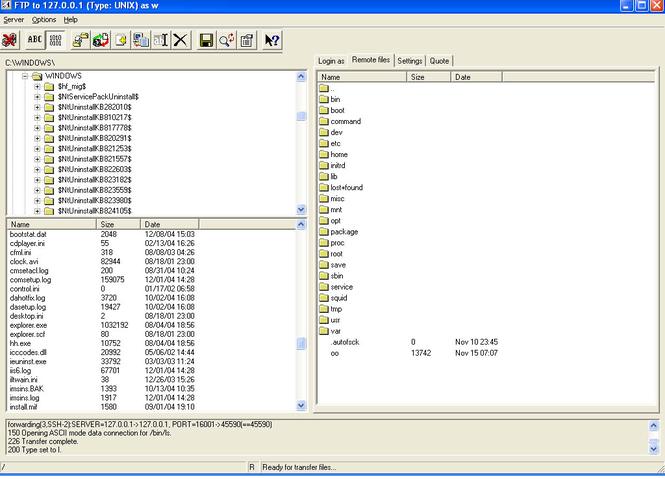 FTP client for windows by Labtam ProFTP Screenshot