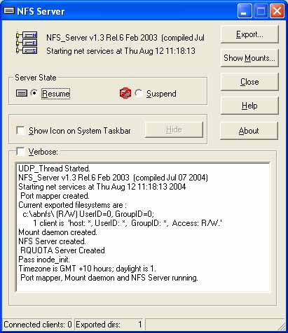 NFS client and server for windows ProNFS Screenshot
