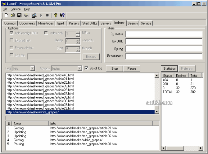 mnoGoSearch Lite for Windows Screenshot