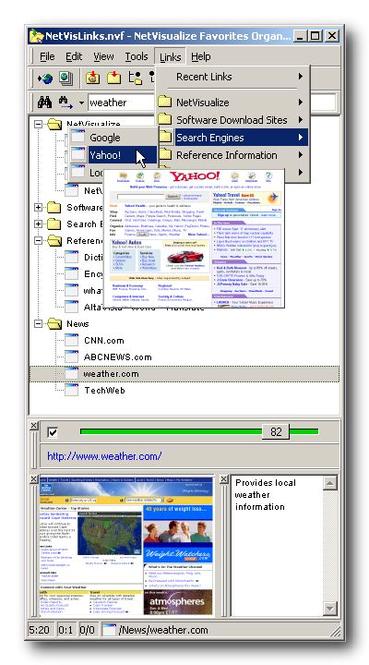 NetVisualize Favorites Organizer Screenshot 1