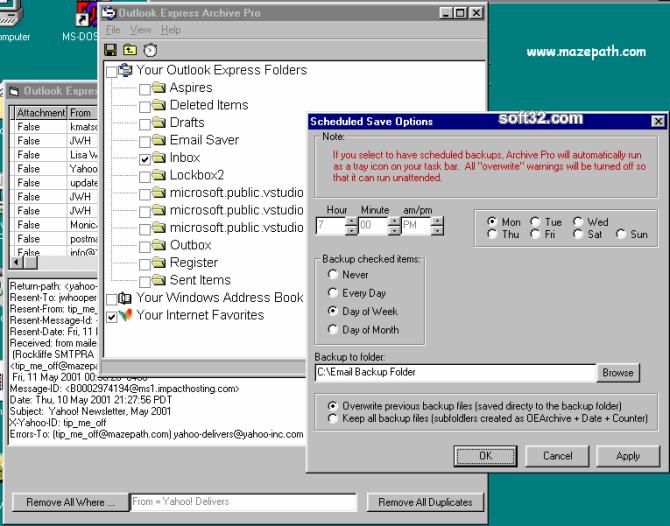 Outlook Express Email Saver Screenshot 2