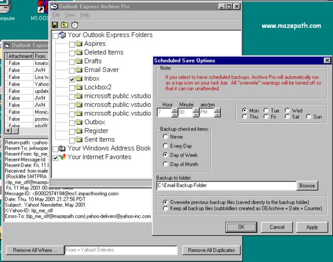 Outlook Express Email Saver Screenshot