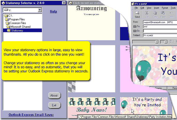Stationery Selector Screenshot