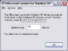 Outlook mail counter for Windows XP Screenshot 2
