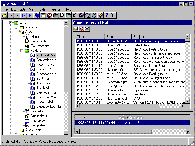 Arrow Mailing List Server for Windows Screenshot 2