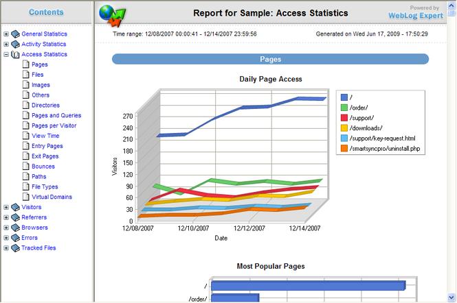 WebLog Expert Lite Screenshot