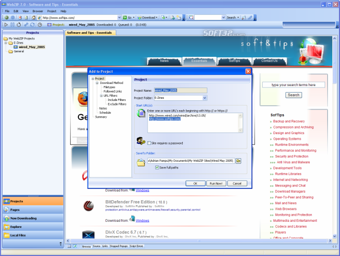 WebZIP Screenshot 5