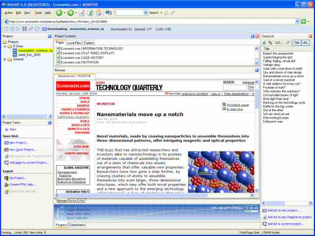 WebZIP Screenshot