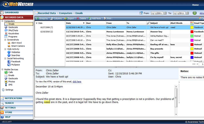 WebWatcher Screenshot