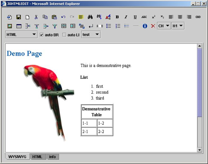 JXHTMLEDIT - WYSIWYG XHTML Editor Screenshot 1