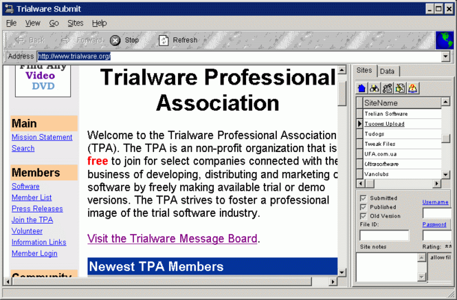 Trialware Submit Screenshot