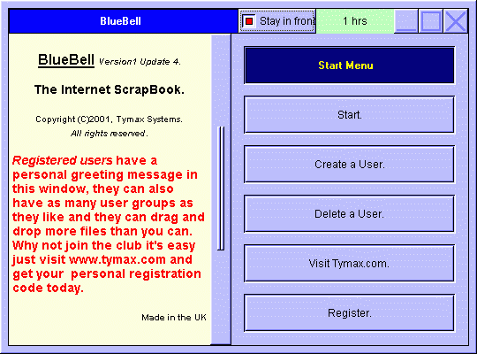 BlueBell - Internet Scrapbook. Screenshot