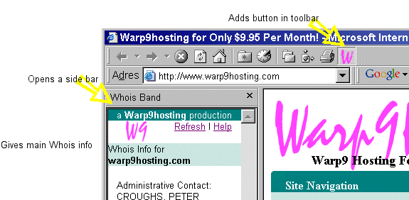 A Warp9 Whois Plugin Screenshot