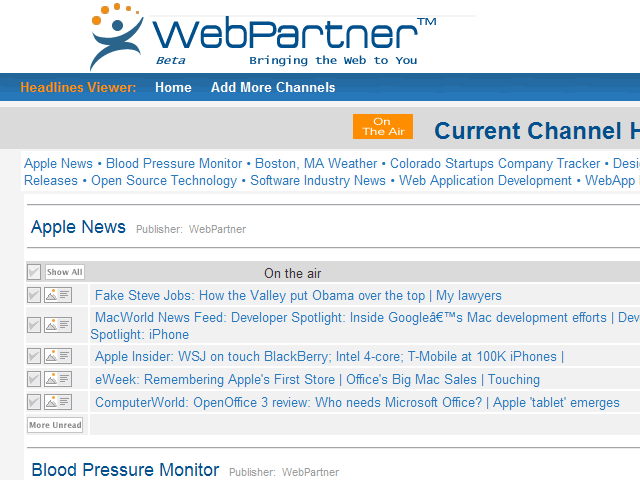 WebPartner Toolbar Screenshot