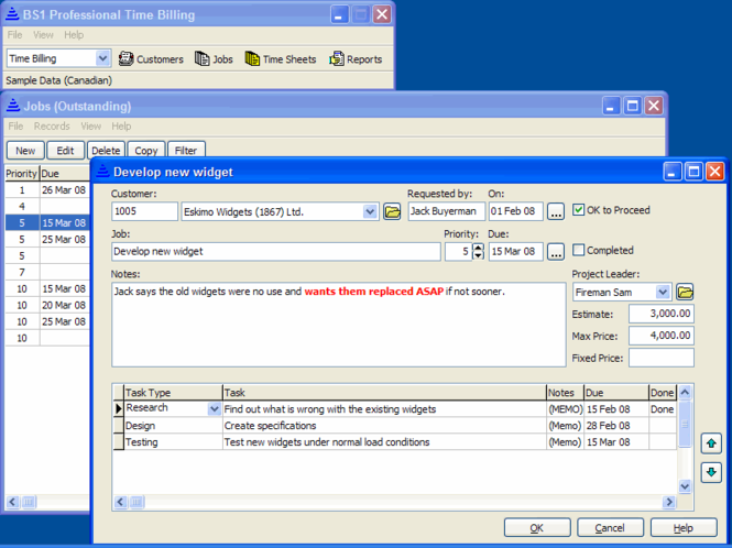 BS1 Professional Time Billing Screenshot 3