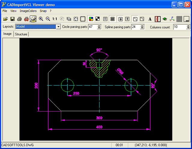CAD Import VCL: dwg, dxf, plt, svg, cgm in Delphi Screenshot