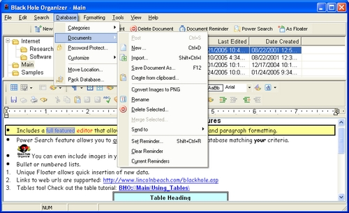 Black Hole Organizer Screenshot 1