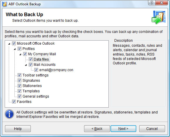 ABF Outlook Backup Screenshot