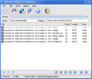 Audiolib CD Ripper Screenshot 1