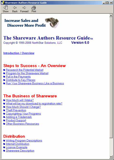 Shareware Authors Resource Guide Screenshot