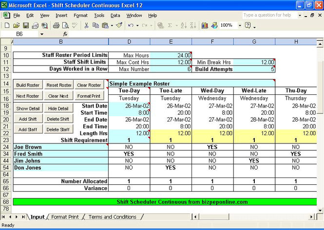 Shift Scheduler Continuous Excel Screenshot 1