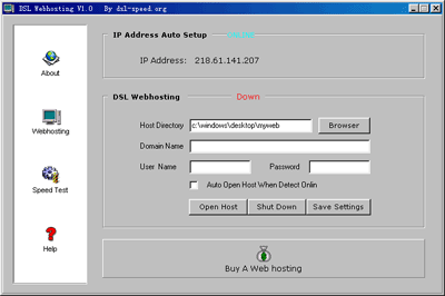 DSL Web Hosting Screenshot