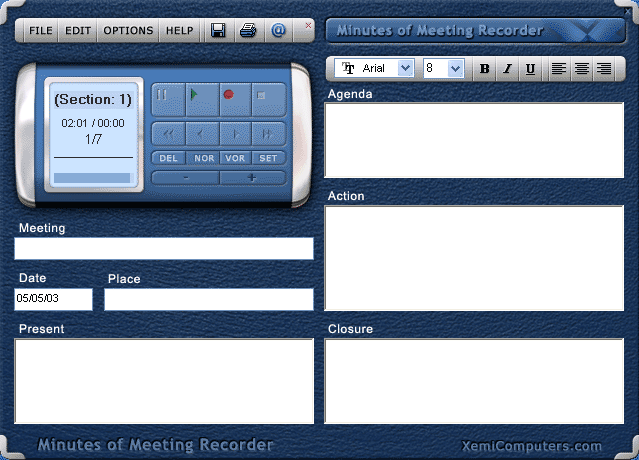 Minutes of Meeting Recorder Screenshot