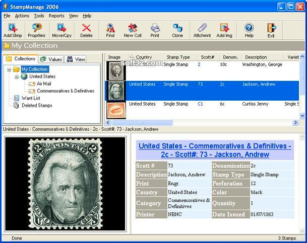 StampManage Stamp Collecting Software Screenshot 2