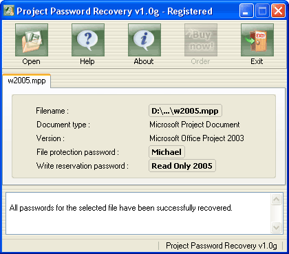 Project Password Recovery Screenshot