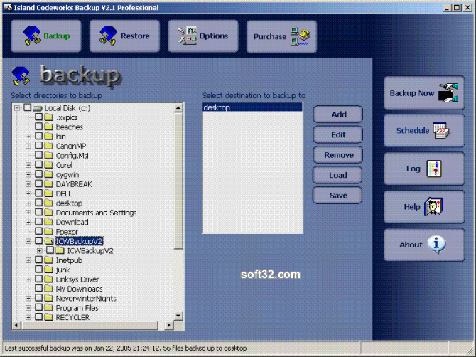 Island Codeworks Backup Professional with DeltaBIT Technology. Screenshot