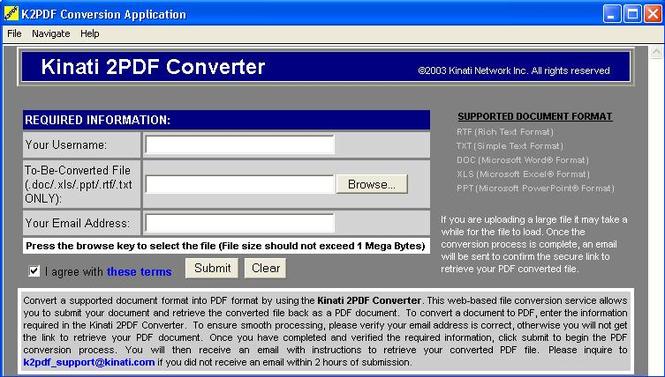 Kinati 2PDF Converter Screenshot