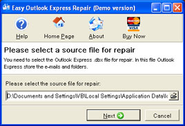 Easy Outlook Express Repair Screenshot