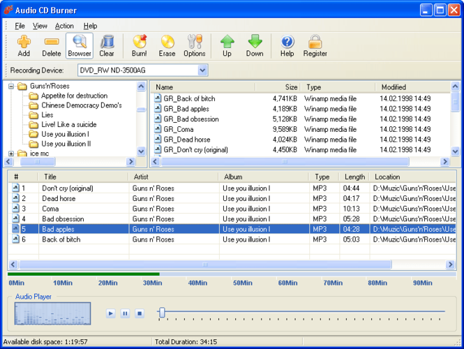 Audio CD Burner Screenshot
