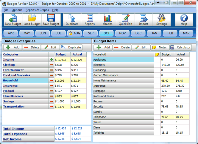 Budget Advisor Screenshot