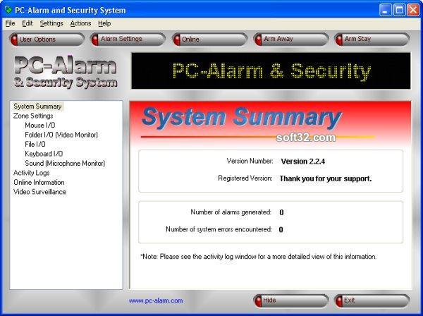 PC-Alarm and Security System Screenshot 3