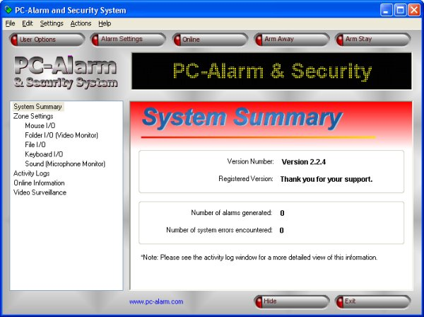 PC-Alarm and Security System Screenshot 1