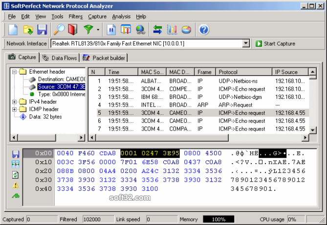 SoftPerfect Network Protocol Analyzer Screenshot 2