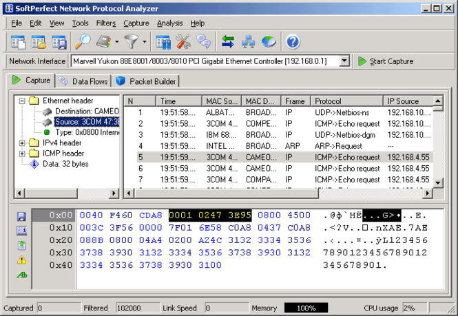 SoftPerfect Network Protocol Analyzer Screenshot