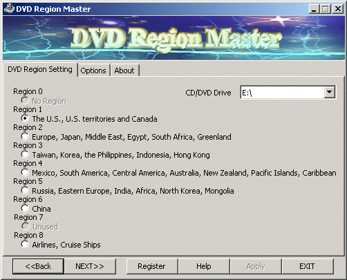 DVD Region Master Screenshot