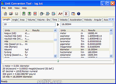 AccelWare Unit Conversion Tool Screenshot 3
