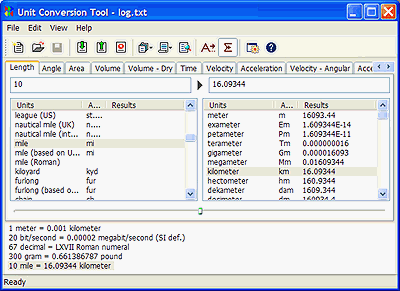 AccelWare Unit Conversion Tool Screenshot