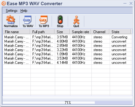 Ease MP3 WAV Converter Screenshot