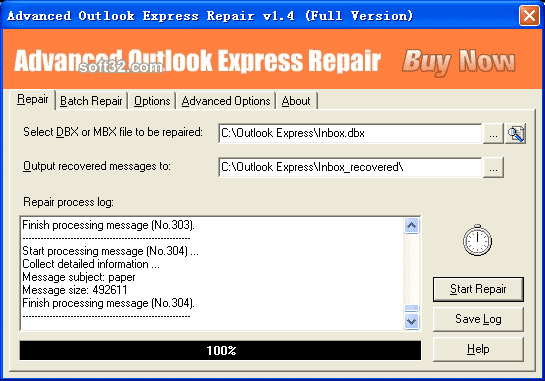 Advanced Outlook Express Repair Screenshot 2
