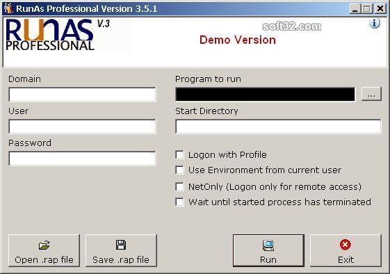 RunAs Professional Screenshot 2
